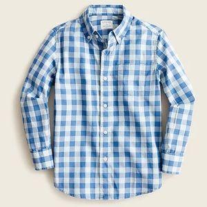 J crew boys button down poplin shirt plaid 6-7